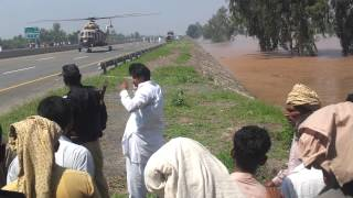 helicopter land on motorway.