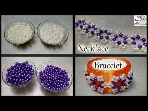 #181 How To Make Pearl Beaded Necklace & Bracelet    Diy    Jewellery Making    Art    New Design