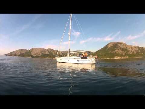 Sailing out Gandsfjorden for Shetland