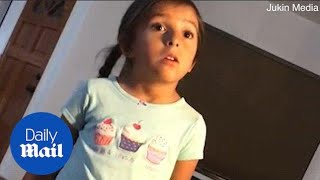 Hilarious moment little girl teaches dad how to be nice