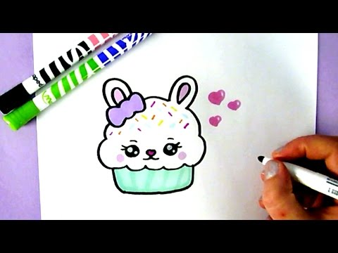 HOW TO DRAW A CUTE BUNNY CUPCAKE | CUTE FOOD DRAWINGS