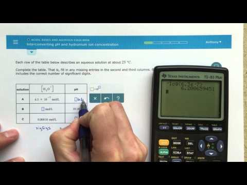 ALEKS - Interconverting pH and Hydronium Ion Concentration