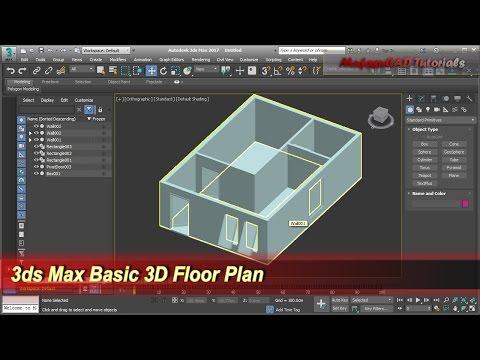 3ds Max Basic 3D Floor Plan Modeling | Wall Door Windows Tutorial