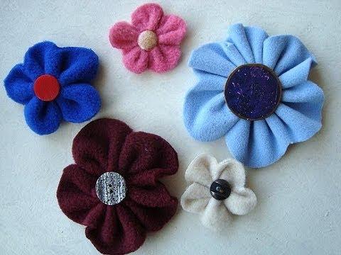 EASY FLEECE OR FELT FLOWERS, sewing for beginners