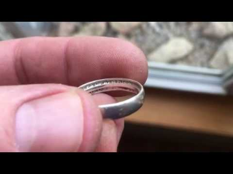 Treasure hunt brings Silver ring made from 1960 silver quarter!!! AT Pro metal detecting.