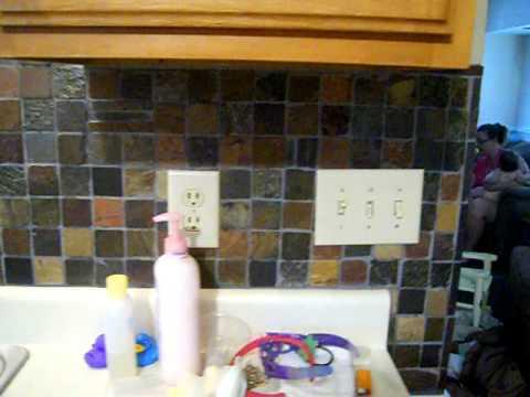 My new backsplash. Slate tile.