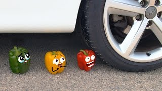 Crushing Crunchy & Soft Things by Car!  EXPERIMENT: VEGETABLES VS CAR 2