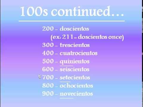 Spanish Numbers 100-1,000,000