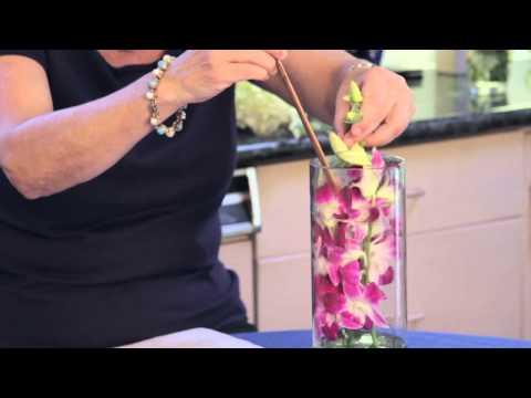 How to Make a Floral Arrangement Inside of a Cylinder, Clear, Tall Vase : Flower Arrangements