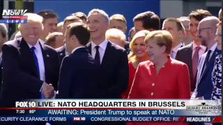 WATCH: First Handshake Between President Trump and French President Macron @ NATO Headquarters (FNN)