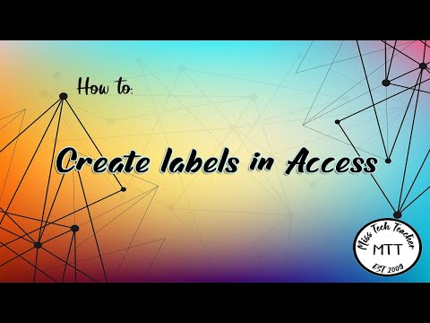 IGCSE ICT (0417) Creating Labels in Access 2007