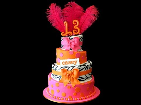 Casey's Zebra Print Hot Pink & Orange Bat Mitzvah Cake