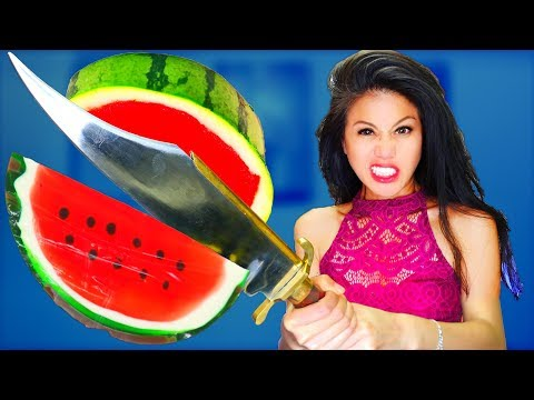 DIY Giant Gummy Watermelon Jello vs Fruit Ninja