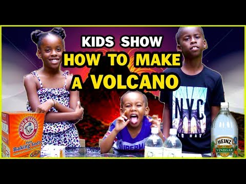How to make a volcano using Baking soda and vinegar - Green Tube Kids TV