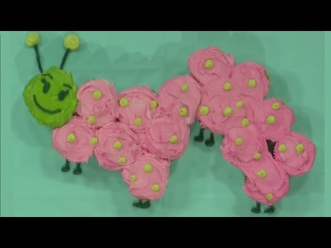 Pull-apart caterpillar cupcake cake
