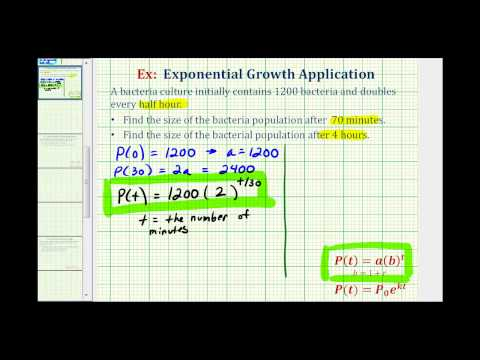 Exponential Growth App (y=ab^t) - Given Doubling Time