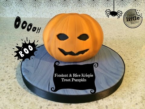 How to make a Halloween pumpkin out of rice krispie treats (RKT) and fondant