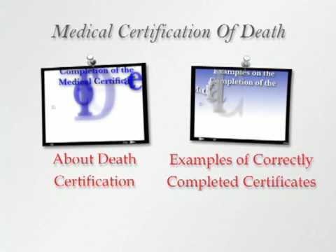 Completion of the Medical Certificate of Death - Introduction