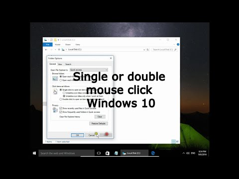 Single or double mouse click.  Mouse settings. Windows 10