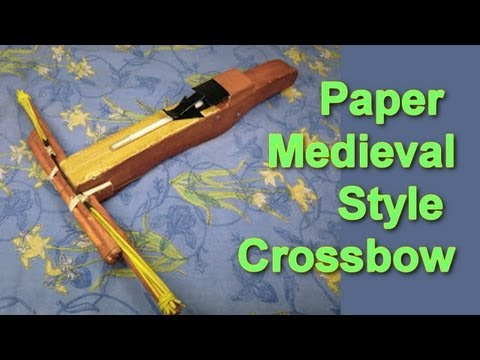Homemade Paper and Cardboard Medieval Style Crossbow (Slingshot)