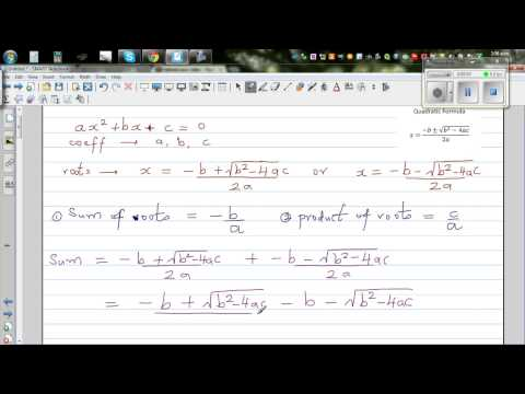 Relationship between roots and coefficient of quadratic equations - Sum and product of roots
