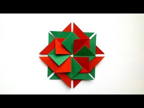 How to Make Origami Christmas Mandala - Origami tutorial