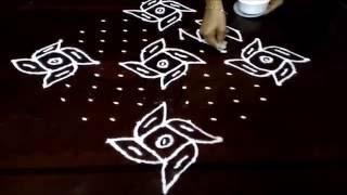 Umbrella Kolam 15 1 Straight Chukkala Muggulu With Dots Rangoli