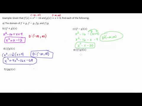Adding, Subtracting, Multiplying, and Dividing Functions