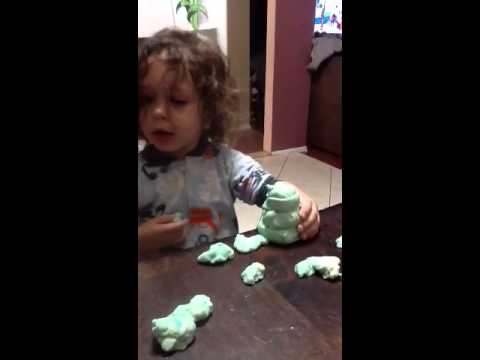 Axl playing with homemade dough