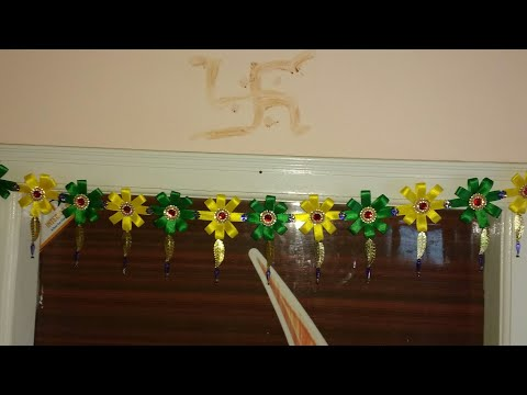 Satin Ribbon Toran for main door | homemade decorative toran | Diy toran making | Satin ribbon toran