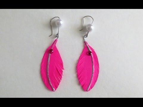DIY Paper Feather Earrings