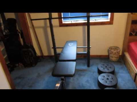 CAP Barbell Deluxe Standard Bench with 100 lb Weight Set