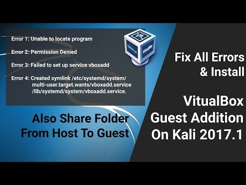 Fix Errors And Install VirtualBox Guest Addition On Kali Linux 2017.1 | Hindi