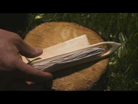 Ray Mears - How to carve a needle and gauge for net making, Northern WIlderness