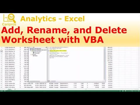 Add, Rename, and Delete Worksheet with VBA - Macro for Beginner