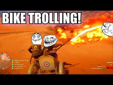 5 WAYS TO TROLL NOOBS WITH THE BIKE IN BATTLEFIELD 1 (FUNNY MOMENTS TROLLING NOOBS)