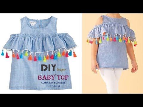 DIY Designer Cold Sleeves Top For Baby Girl Full tutorial