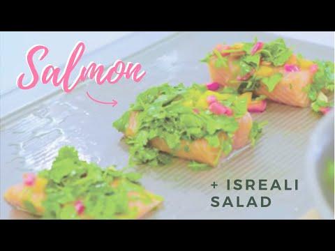 EASY Salmon & Israeli Salad Dinner Recipe!