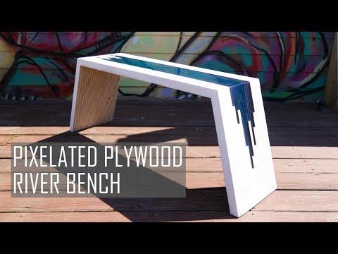 DIY Pixelated River Bench || Plywood & Epoxy Resin || #rocklerplywoodchallenge