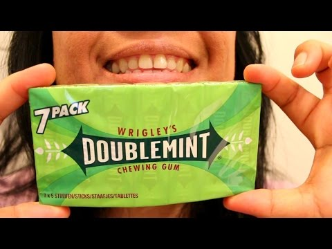 ASMR Chewing Wrigley's Double Mint Gum Blowing Bubbles