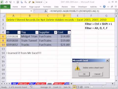 Excel Magic Trick 888: Delete Filtered Records Do Not Delete Hidden Records