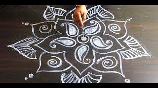 Attractive Floor Bengali Alpana Design Hand Art
