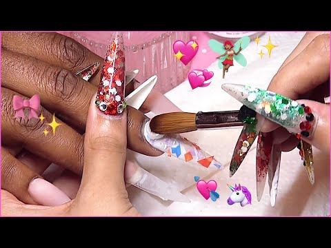 Watch Me Work: Opal, Nude and Bling Acrylic Nails Full Set