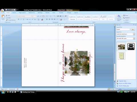 MS Word Tutorial (PART 2) - Greeting Card Template, Inserting and Formatting Text, Rotating Text