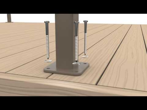 DesignRail® installation: Level railing with base mounted posts and CableRail infill