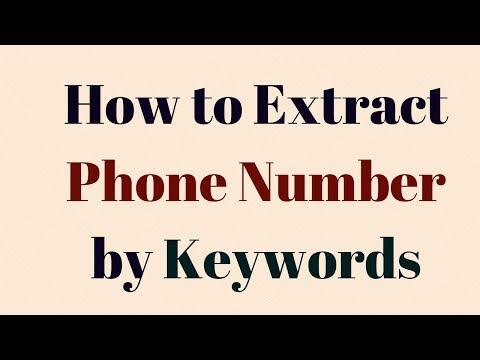 How to Extract Phone number by Keywords