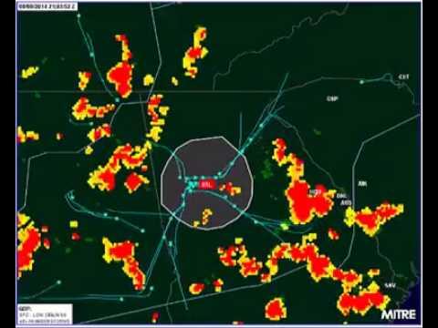 Airplanes around thunderstorms