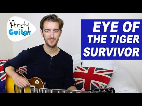 Eye Of The Tiger Guitar lesson - EASY Electric Guitar Songs