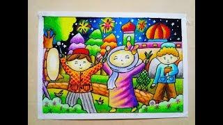 Cara Mewarnai Gradasi Oilpastel Crayon Idul Fitri