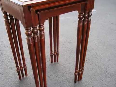Restoration  Antique Mahogany Nest of 3 Tables ,French Polish-Madadar Naples FL